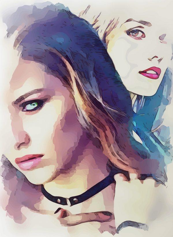 ציור של שתי נשים יפות